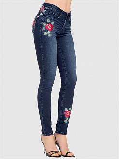 Женские джинсы больших размеров со стразами и цветами
